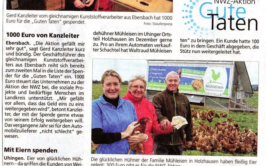 """Mit Eiern spenden – NWZ-Bericht """"Gute Taten"""""""